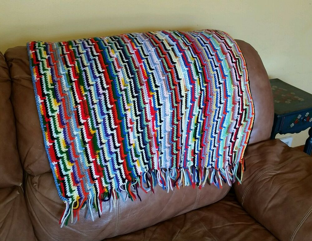 Hand-made Crocheted Afghan Throw Vintage Multi-color ...