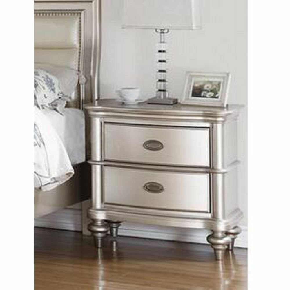 Antique Silver Glam Two Drawers Bedroom Nightstand Ebay