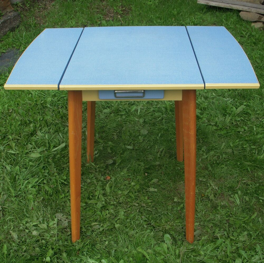 vintage retro wooden kitchen drop leaf table blue formica with top drawer 1950s ebay. Black Bedroom Furniture Sets. Home Design Ideas