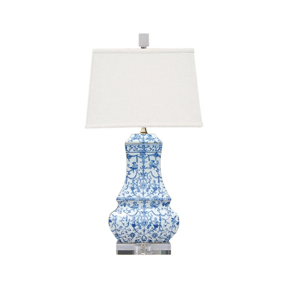 Blue And White Floral Porcelain Chinese Vase Clear Base Table Lamp