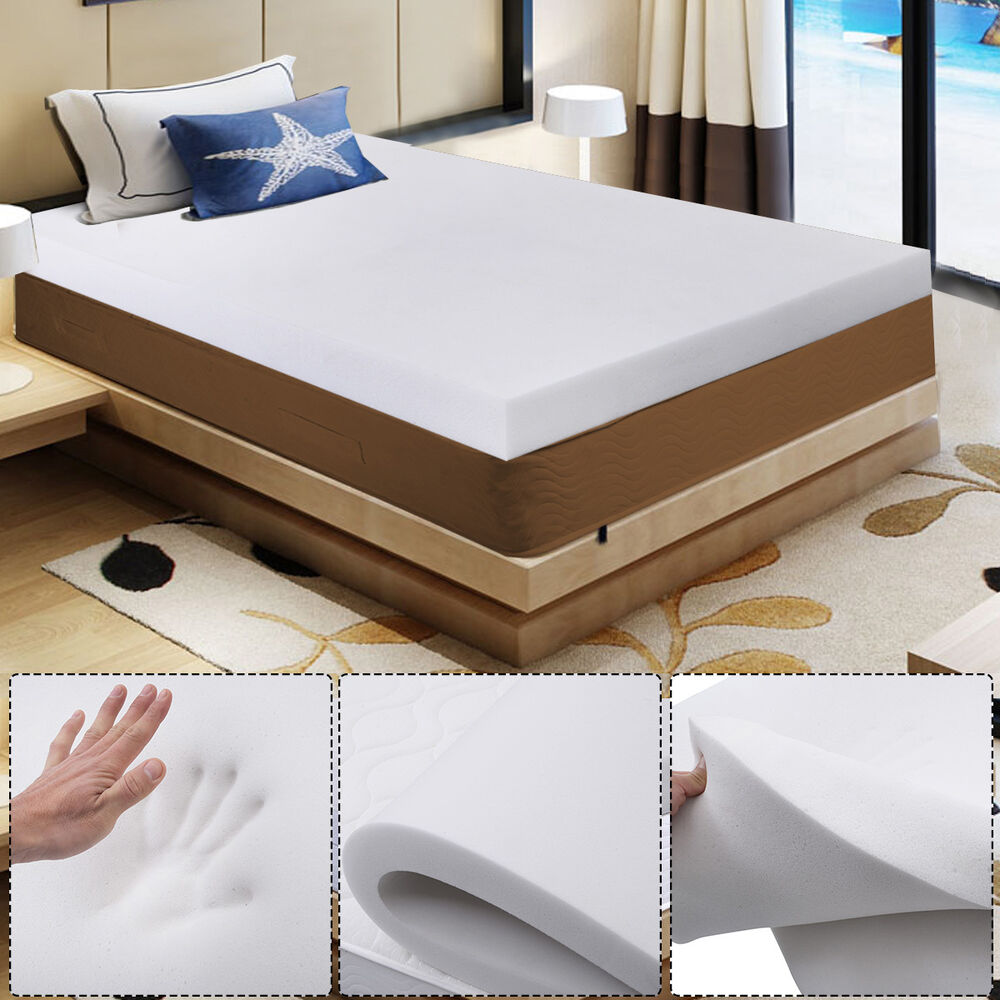 3 queen size memory foam mattress pad bed topper 80 x60 x3 bedroom new ebay. Black Bedroom Furniture Sets. Home Design Ideas