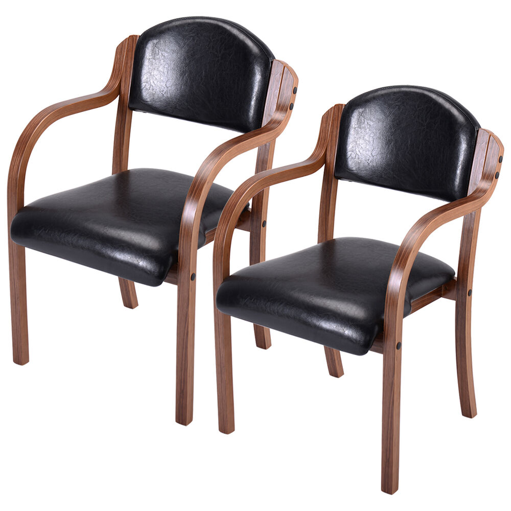 Set Of 2 Dining Chairs: Set Of 2 Bent Wood Dining Arm Chair Modern Elegant Home