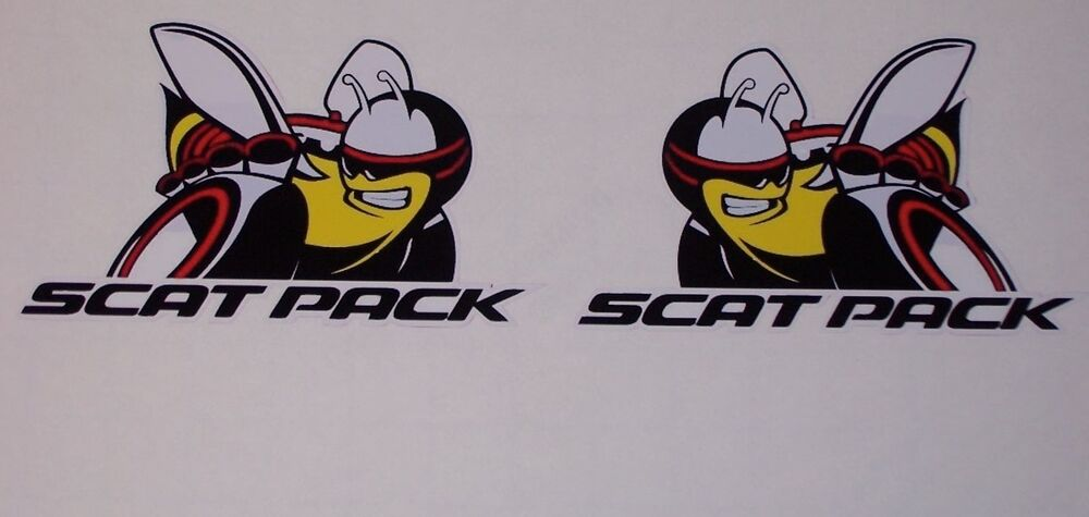 pair scat pack bee with text decals decal sticker left and. Black Bedroom Furniture Sets. Home Design Ideas