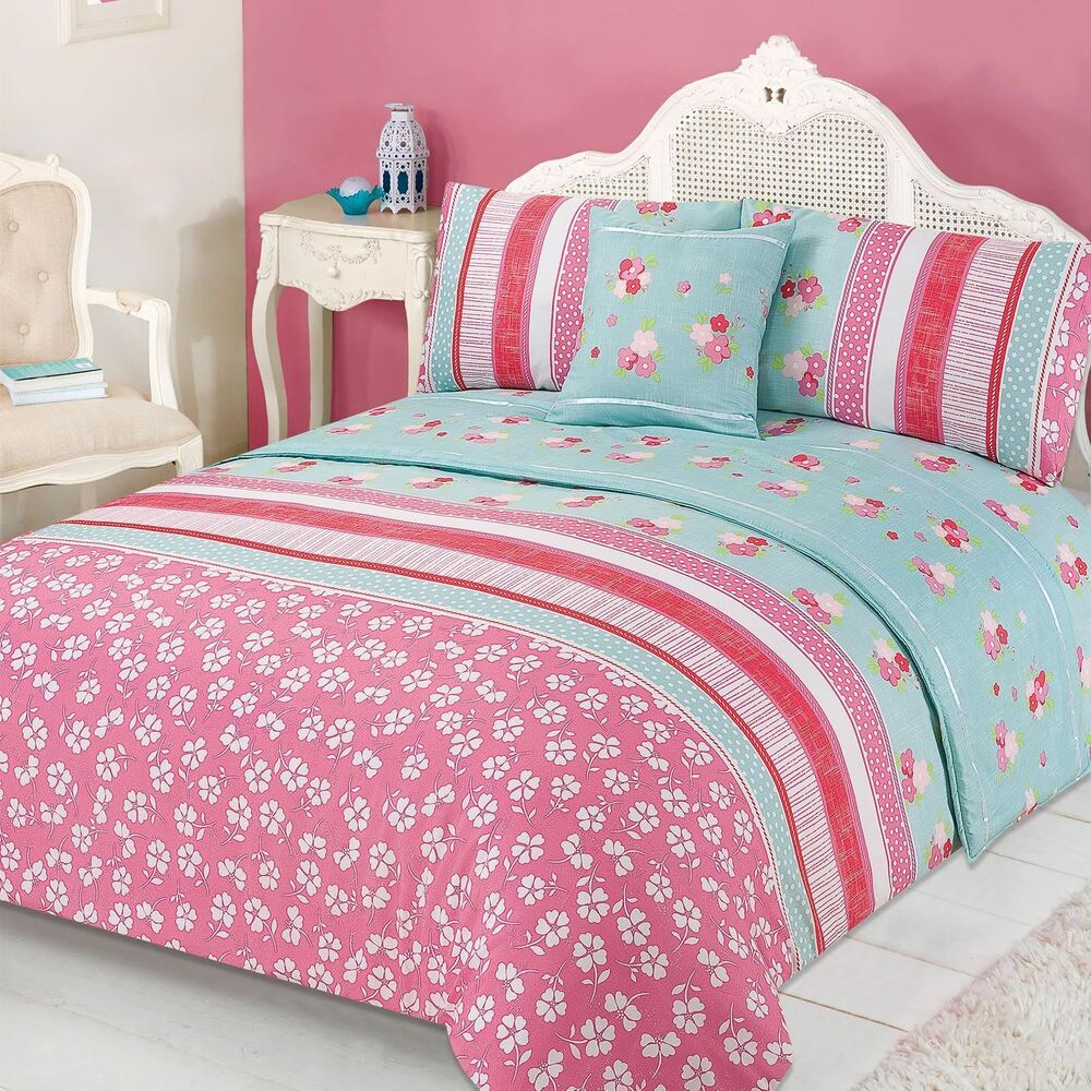 Floral Quilt Cover Bed in A Bag Pillowcases Runner Bedding ...