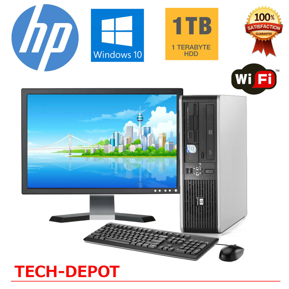 hp desktop pc computer windows 10 core 2 duo 8gb ram 1tb win 10 wifi 19 monitor ebay. Black Bedroom Furniture Sets. Home Design Ideas