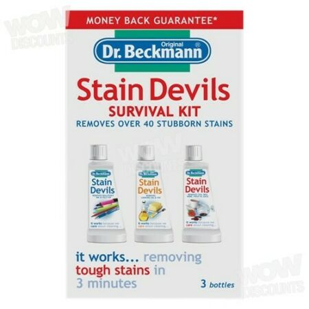 img-Dr.Beckmann Stain Devils Survival Kit, 3 Removers - Oil & Fat, Red Wine, Ink