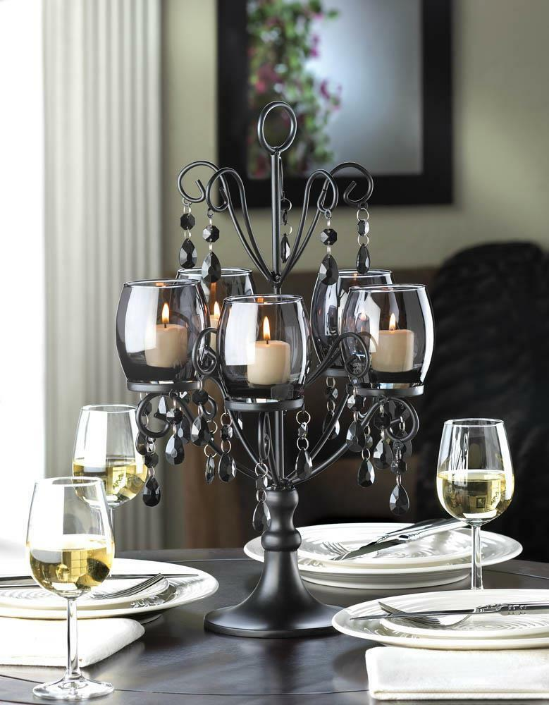 "large 17"" tall BLACK prism chandelier CANDELABRA Candle ..."