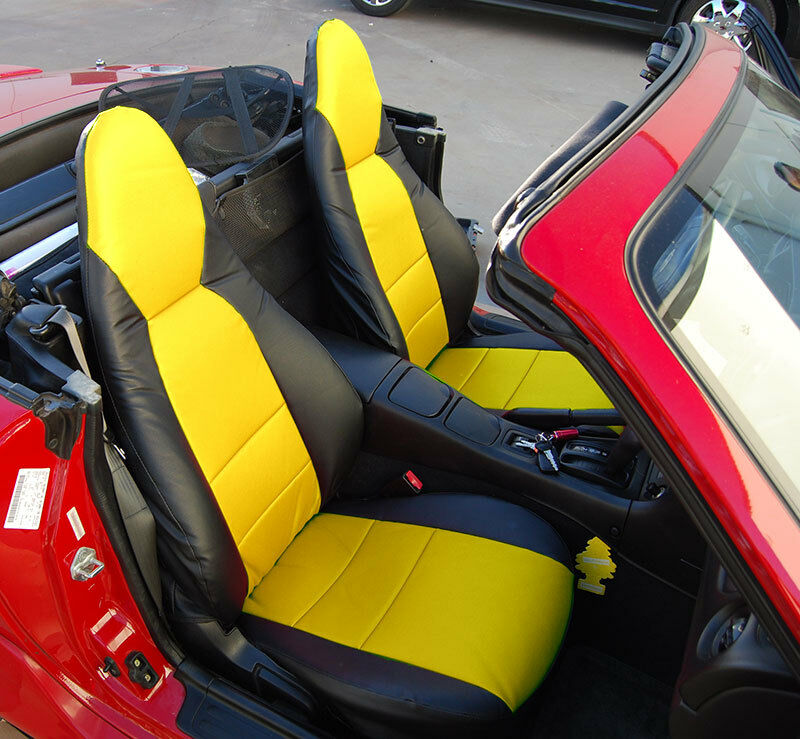mazda miata 2001 2005 black yellow s leather custom made fit front seat cover ebay. Black Bedroom Furniture Sets. Home Design Ideas
