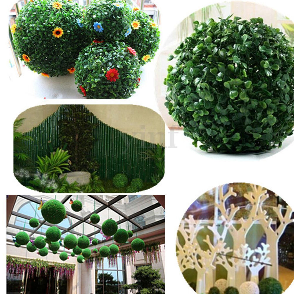 Artificial boxwood grass ball topiary outdoor indoor plant for Artificial grass indoor decoration