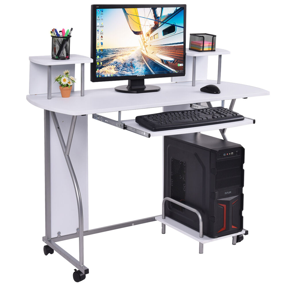 Rolling Computer Desk Pc Laptop Desk Pull Out Tray Home