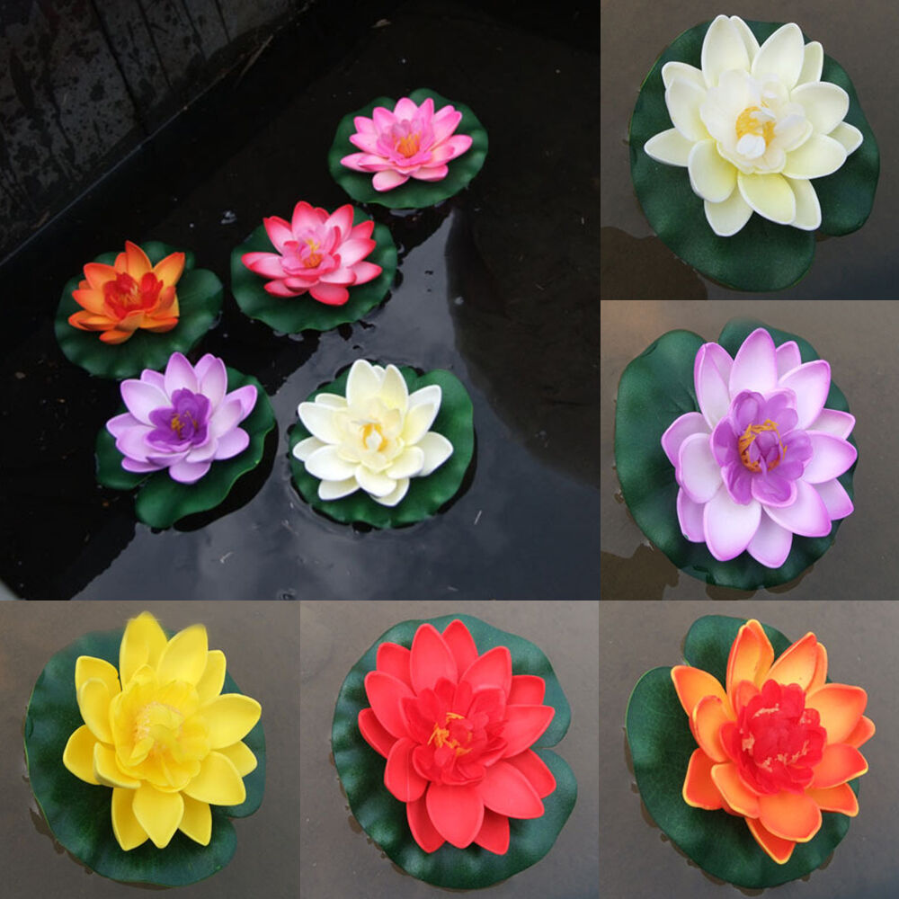 Artificial lotus water lily floating flower garden pool for Flower garden ponds