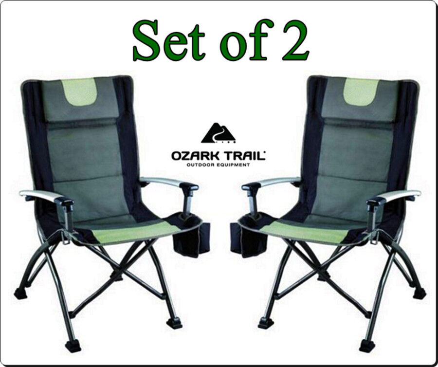 Outdoor High Back Folding Chair with Headrest Set of 2 fortable Camping Se