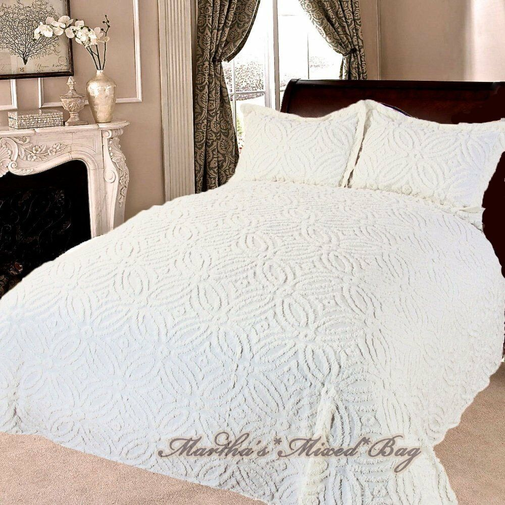 Chenille Wedding Ring Vintage Ivory Bedspread Shams 100 Cotton King Queen Full Ebay