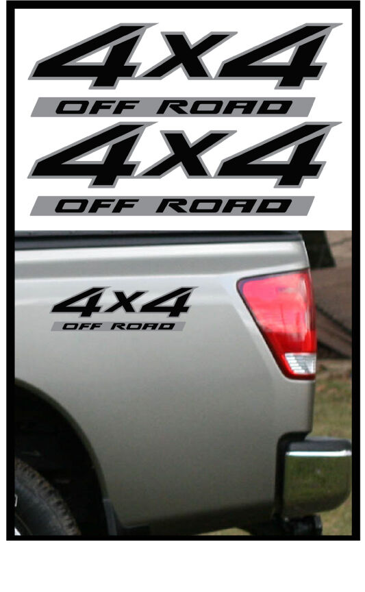 2 4x4 Offroad Decal Sticker Black On Silver Parts For