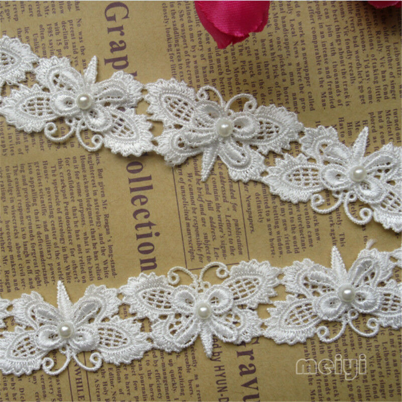 1yard vintage butterfly bow pearl lace trim ribbon wedding for Craft ribbons and trims