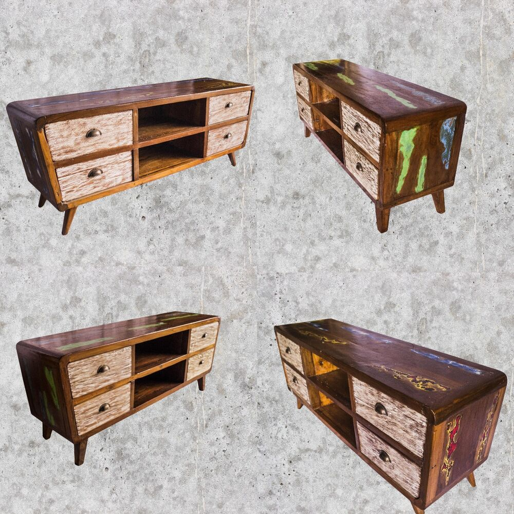 teakholz tv tisch lowboard sideboard schrank shabby vintage retro fernsehtisch ebay. Black Bedroom Furniture Sets. Home Design Ideas