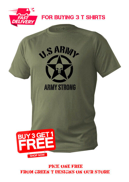 T Shirt Mens Dry Fit Short Sleeve Green Olive Us Army