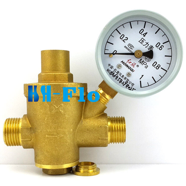 pressure maintaining valve brass water pressure regulator with pressure gauge ebay. Black Bedroom Furniture Sets. Home Design Ideas