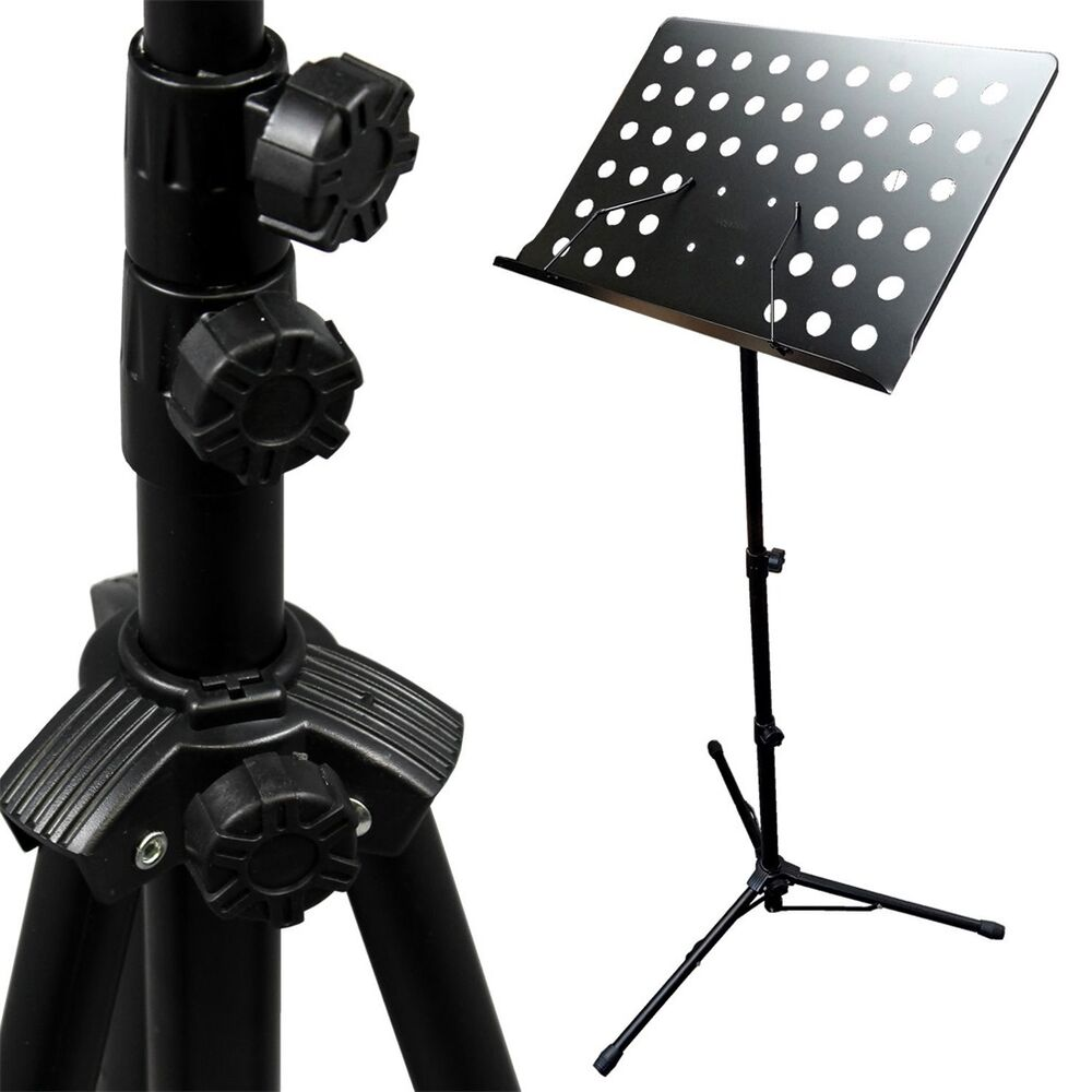 black music conductor stand adjustable metal sheet tripod holder folding stage ebay. Black Bedroom Furniture Sets. Home Design Ideas