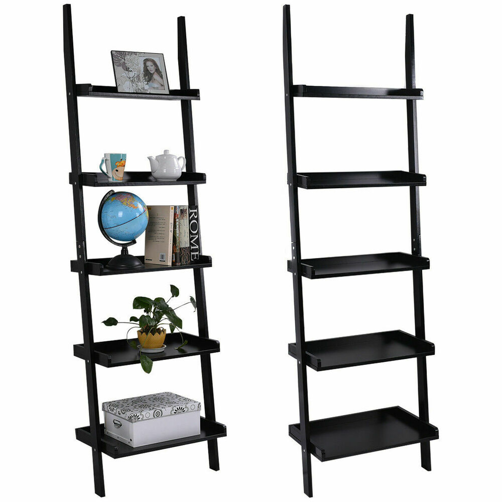 Black 5 Tier Bookcase Bookshelf Leaning Wall Shelf Ladder