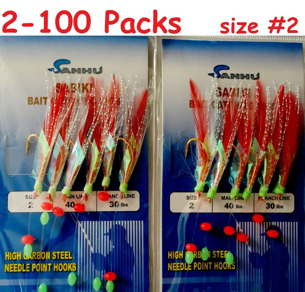 2 100 Packs Size 2 Sabiki Bait Rigs 6 Hooks Red Feather