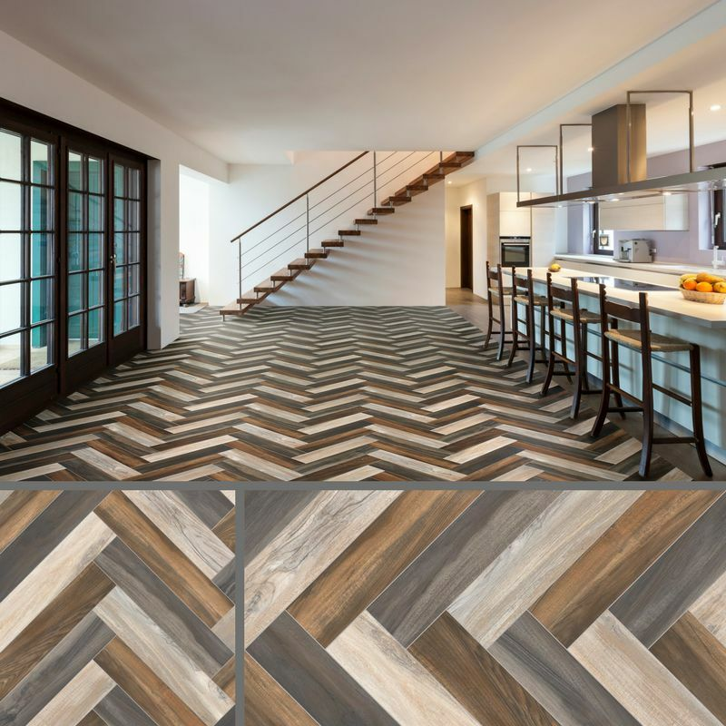 4mm Herringbone Multi Coloured Parquet Sheet Vinyl