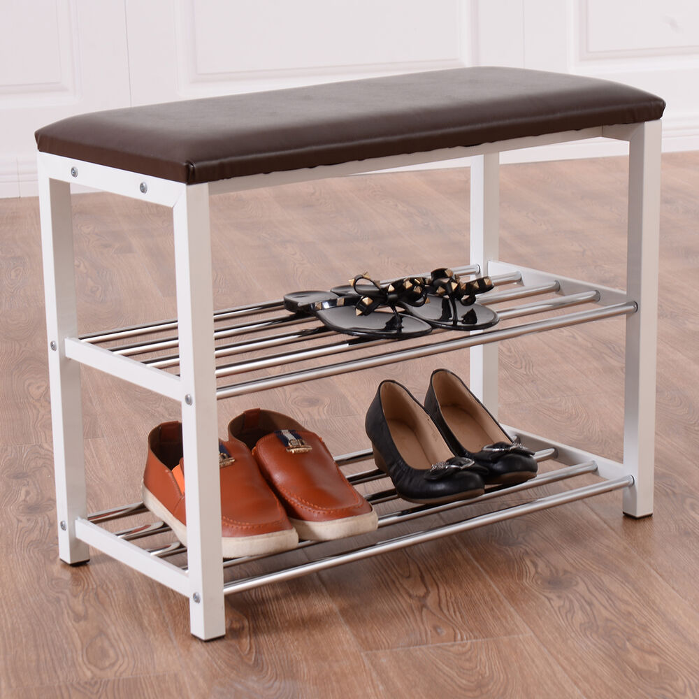 3 tier storage shoe rack bench seat organizer shelf home dorm entryway brown new ebay Entryway shoe storage bench
