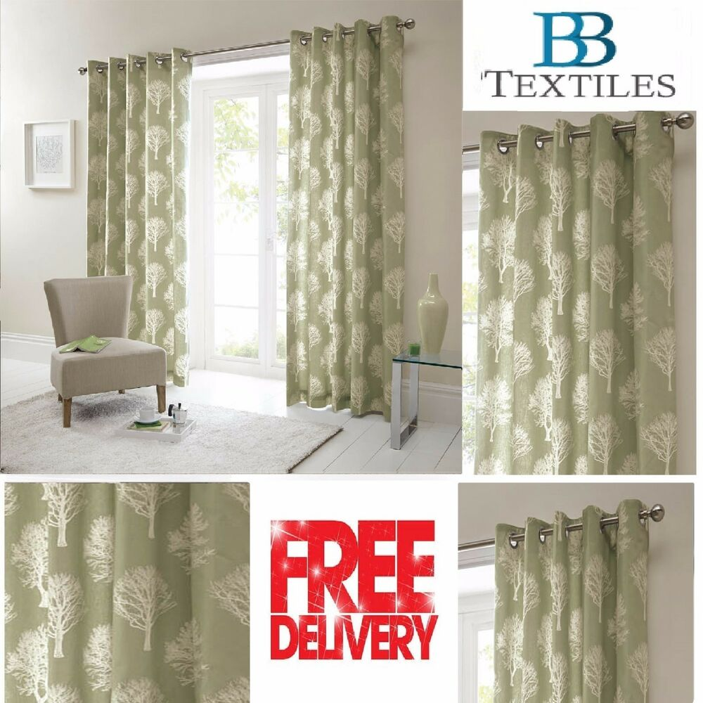 Woodland forest trees fully lined eyelet ready made for Forest green curtains drapes
