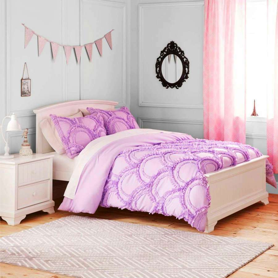 Light purple comforter set for girl ruffle bedding twin for Best color bed sheets