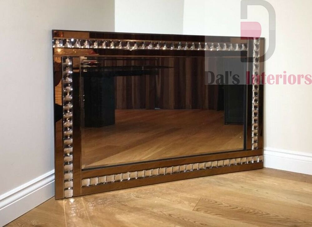 Elegant bevelled glass wall mirror bronze crystal 120cm for Glass mirrors for walls