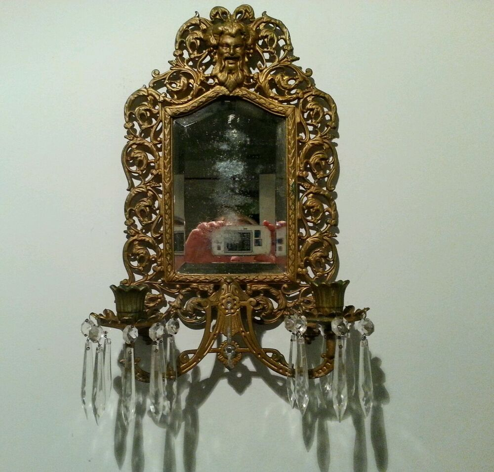 Antique Vintage Mirrored Candle Wall Sconce Bradley & Hubbard Glass Prism eBay
