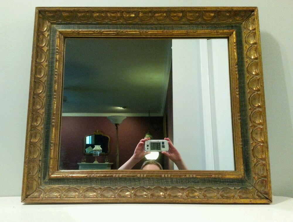 Vintage Wall Mirror Ornate Wood Green & Gold Frame Spanish