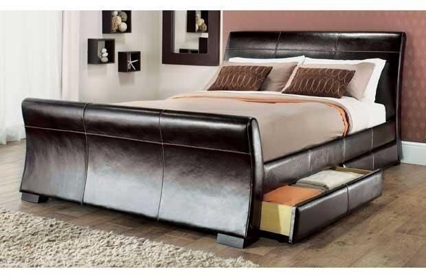 4 DRAWERS LEATHER STORAGE SLEIGH BED DOUBLE OR KING SIZE BEDS + MEMORY MATTRESS - King Size Beds EBay