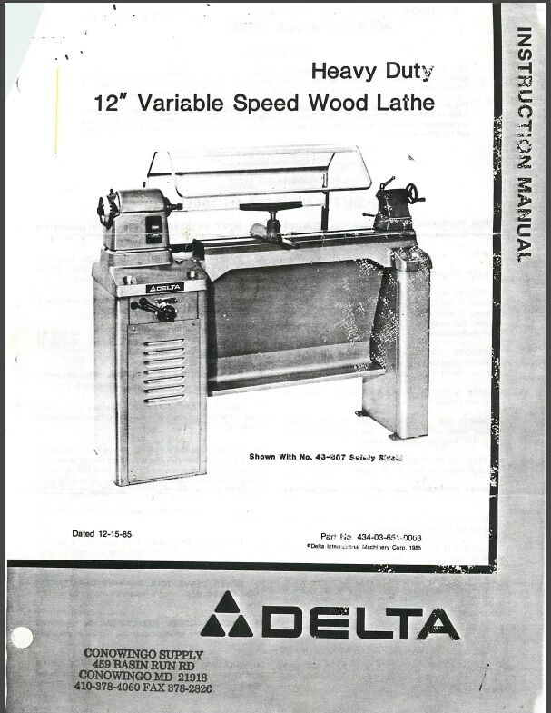 "Delta HD 12/"" Variable Speed Wood Lathe Instructions Manual Parts List PDF"