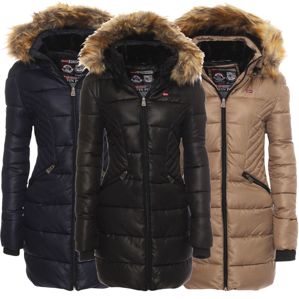 geographical norway damen winter jacke parka lang mantel winterjacke steppjacke ebay. Black Bedroom Furniture Sets. Home Design Ideas