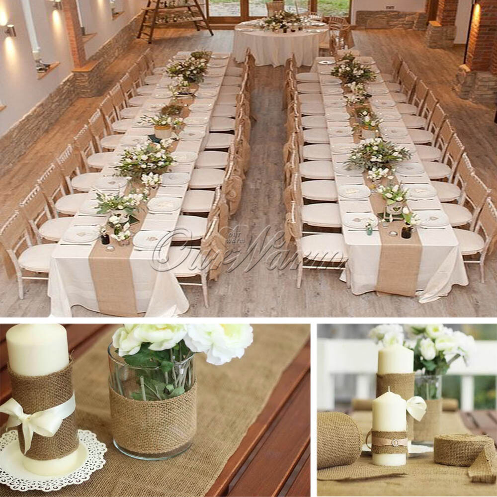 Diy Burlap Wedding Ideas: Unique Hessian Jute Burlap Roll Chair Bow Table Runner DIY