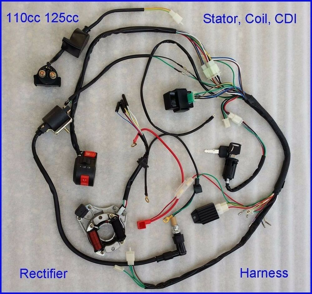 50 70 90 110cc full wire harness wiring cdi assembly atv. Black Bedroom Furniture Sets. Home Design Ideas