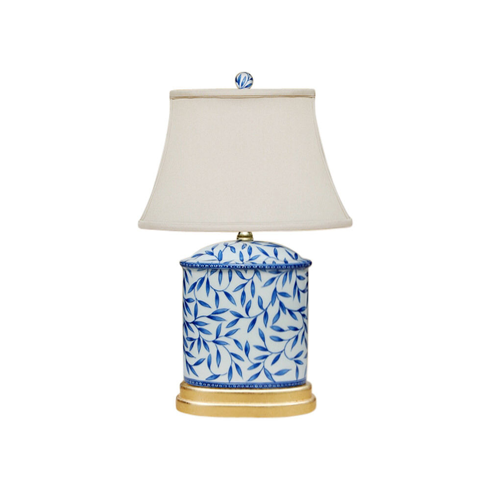 Bamboo Oval Table Lamp: Blue And White Bamboo Floral Porcelain Oval Vase Table