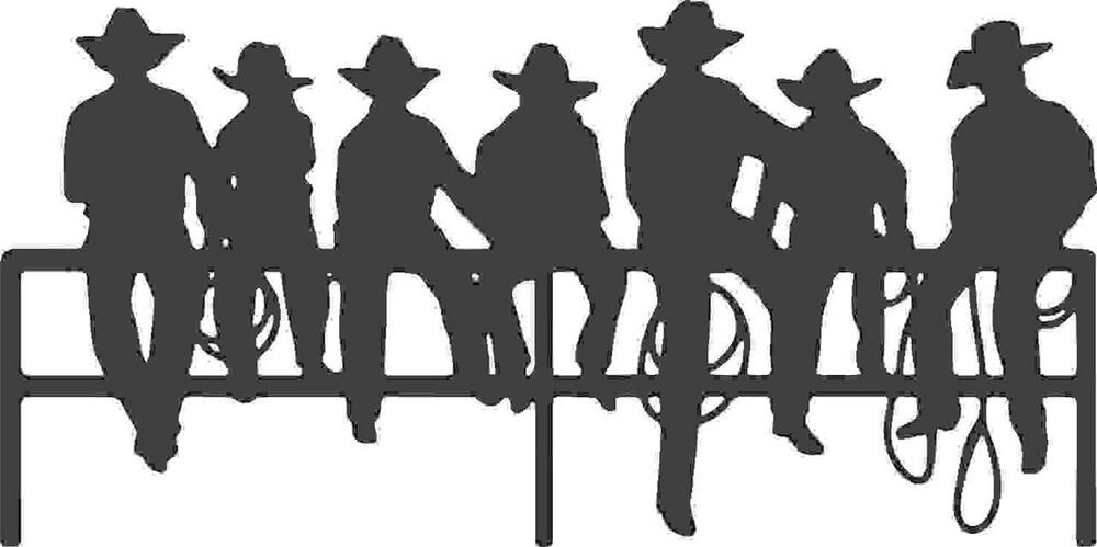 Silhouette Of Cowboys Sitting On A Fence Vinyl Wall Decal