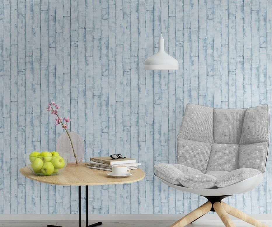 Sale distressed wood wallpaper blue washable kitchen bathroom 854329 ebay - Wood effect bathroom wallpaper ...