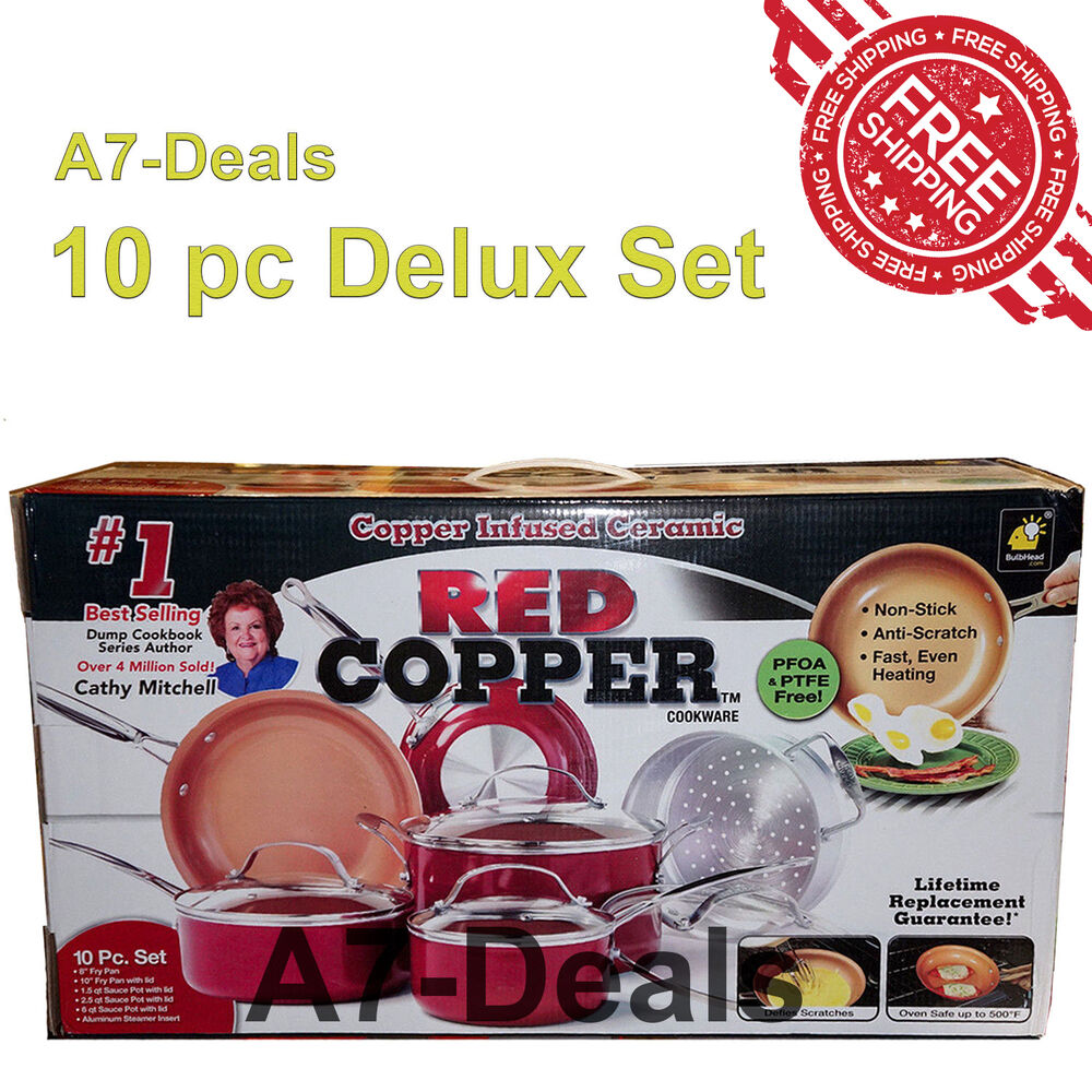 Red Copper Infused Ceramic Pan Non Stick Cookware 10 Piece