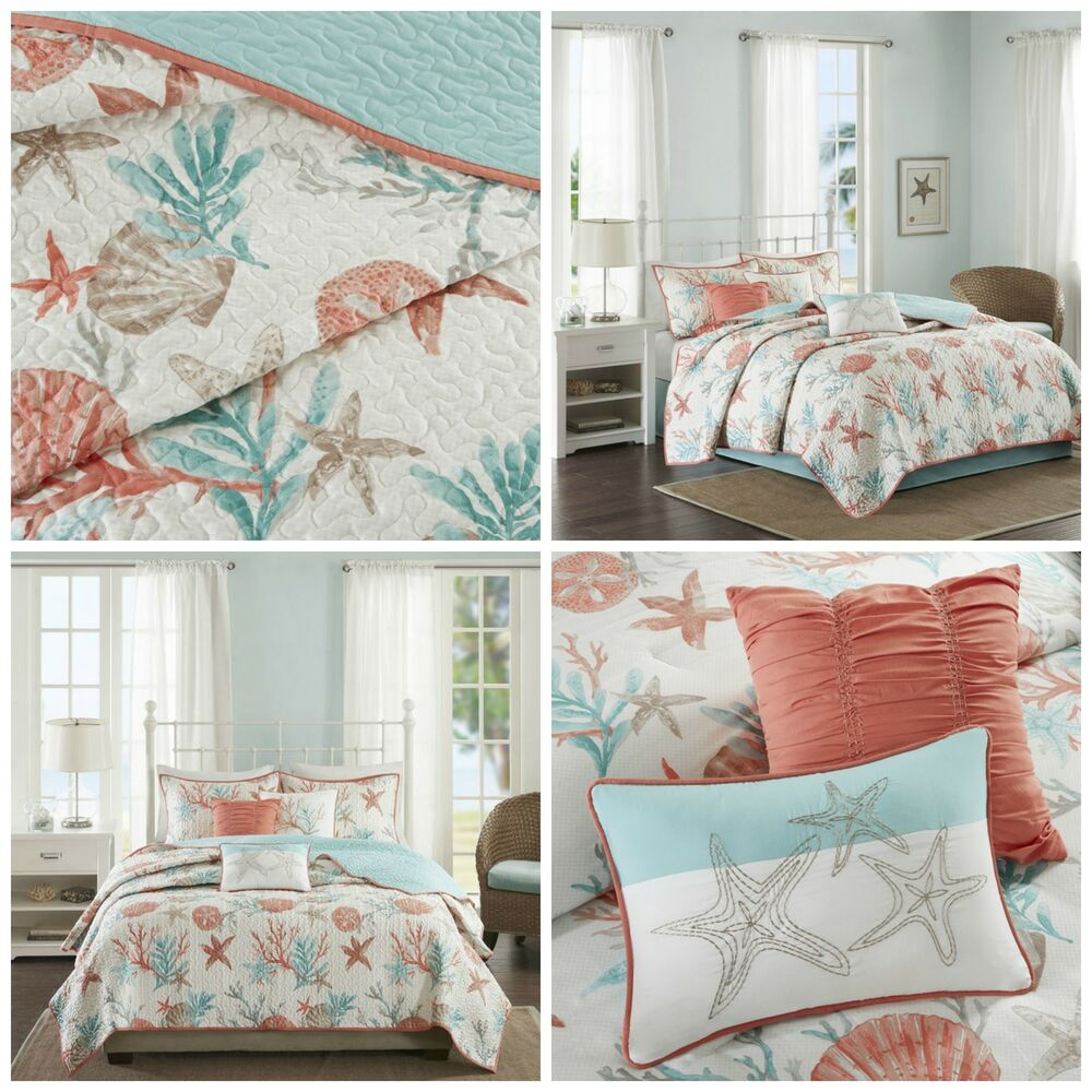 Full/Queen Coral Blue Coastal Starfish Quilted Coverlet 6 ...