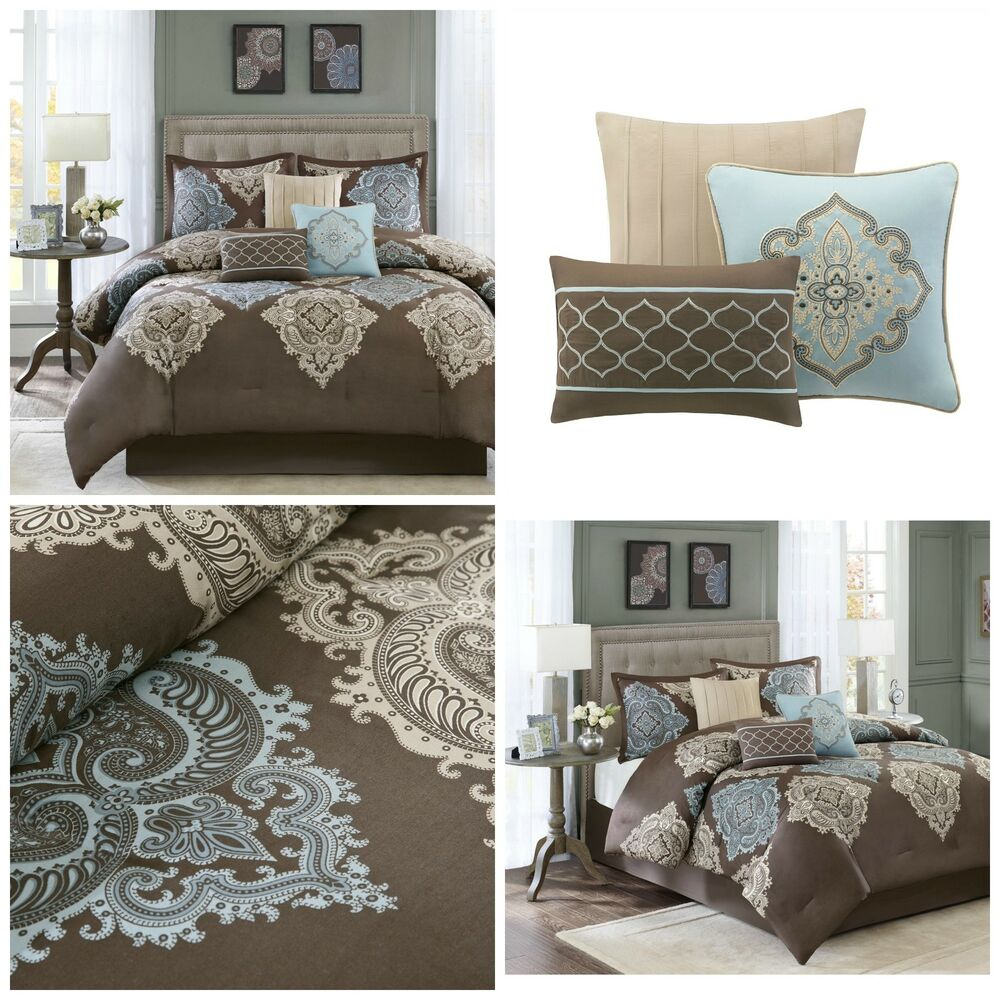 7 Piece Brown Blue Damask Print Luxurious King Size Bed Comforter Set Bedding Ebay