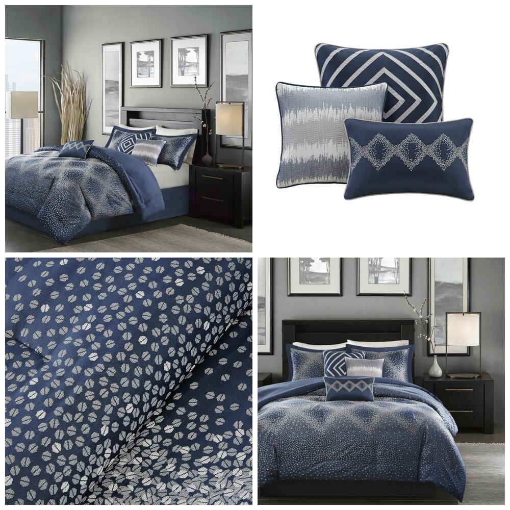 Comforter Silvers: King Size Comforter Set 7 Piece Navy Blue Silver Accents