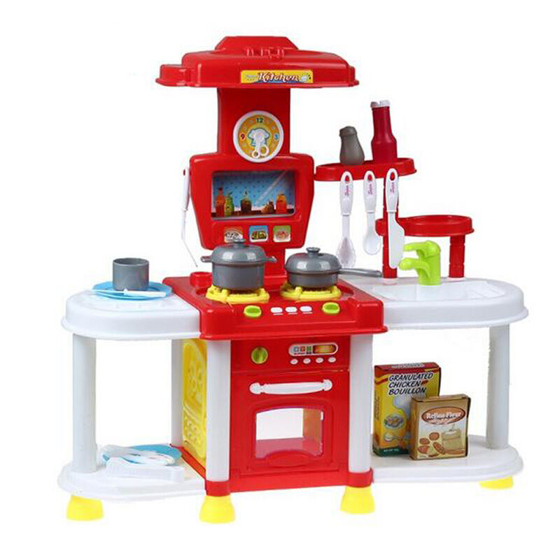 Electronic Kitchen Set: Portable Red Electronic Lights Kids Kitchen Cooking Girl