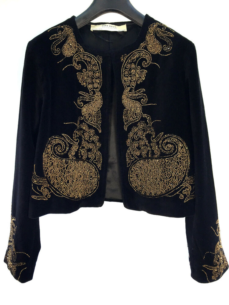ZARA BLACK EMBROIDERED VELVET JACKET SIZE MEDIUM REF 7521