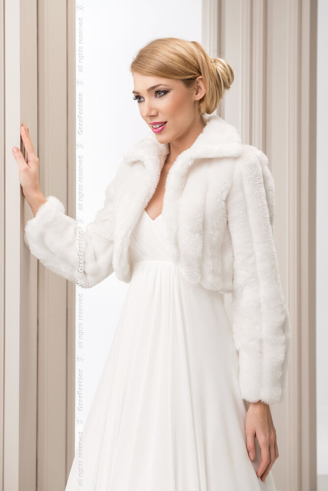 New womens wedding ivory faux fur shrug bridal bolero for Womens dress jacket wedding