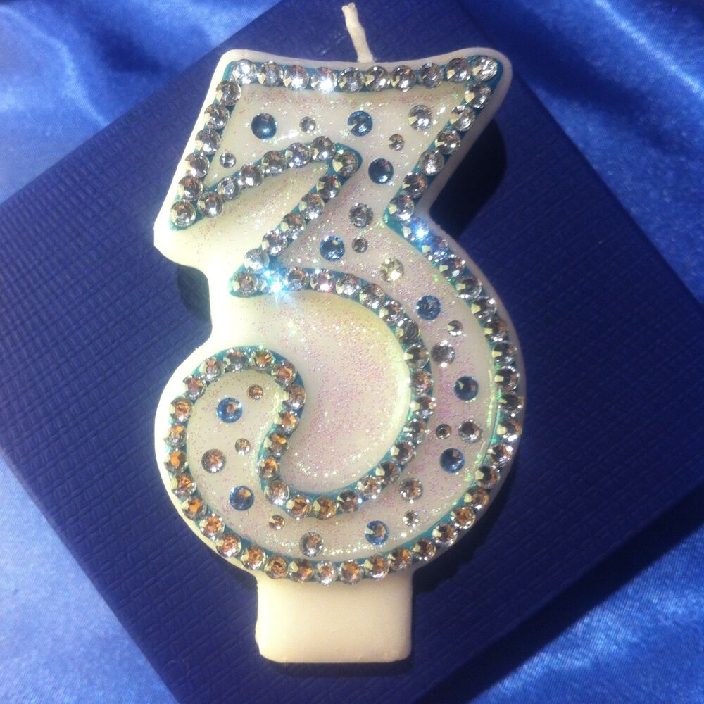 Number 3 Three Birthday Candle Frozen Party Cake Topper Free Post
