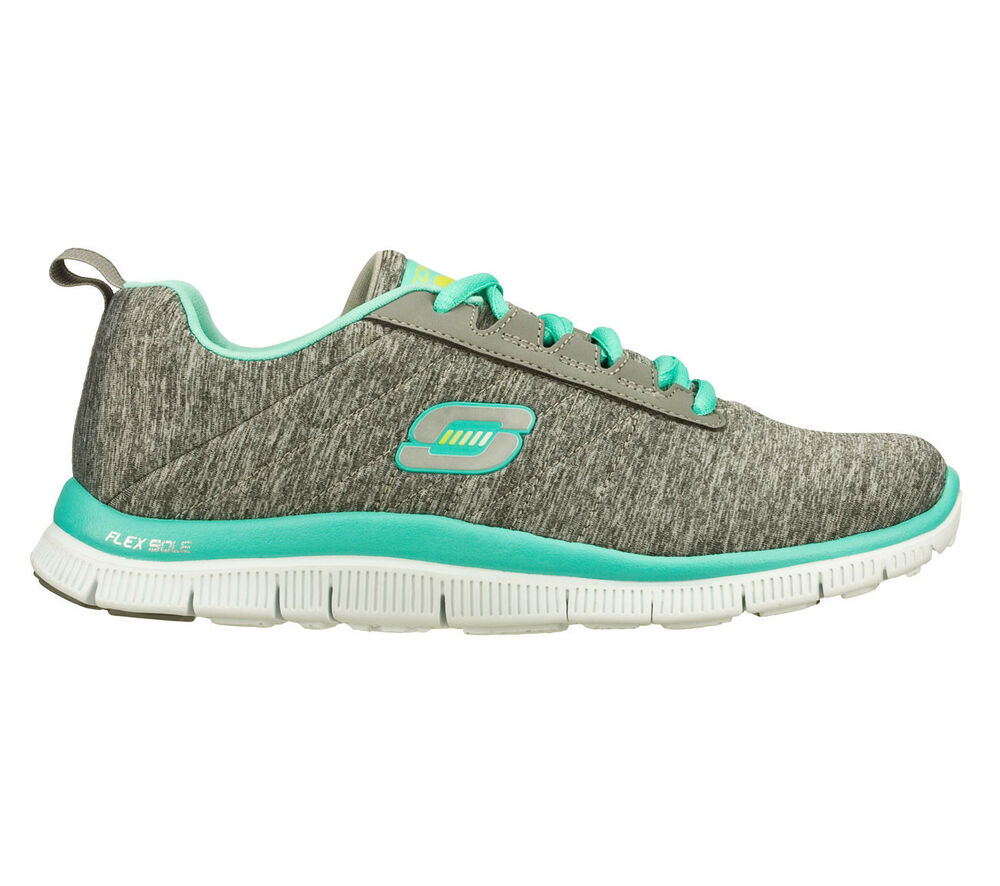 new womens skechers flex appeal next generation shoes 11883 gray mint 1m sr ebay. Black Bedroom Furniture Sets. Home Design Ideas