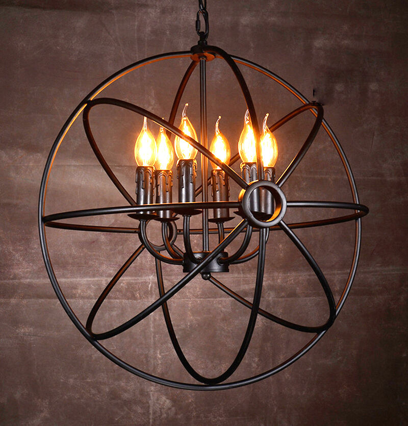 Industrial round chandelier light fixture globe metal for Round rustic chandeliers